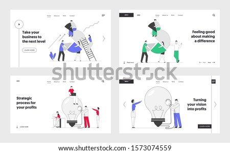 Business Idea, Teamwork Cooperation and Partnership Website Landing Page Set. Businesspeople Set Up Pie Chart, Switch on Huge Light Bulb. Solution Web Page Banner. Cartoon Flat Vector Illustration