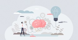 Business ideas innovation as creative solution thinking tiny person concept. Inspirational company development as light bulb, brain and socket vector illustration. New businessman project launch.