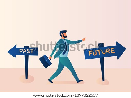 Business illustration, alternative concept, past, and future. Businessmen confidently choose to move forward to the future Foto stock ©