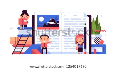 Business illustration in flat style with cute characters. Huge open book. The joy of reading.