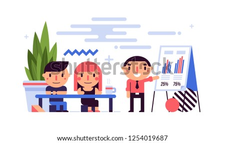 Business illustration in flat style with cute characters. Presentation in the office. Conference, meeting, annual report, new ideas, innovations.