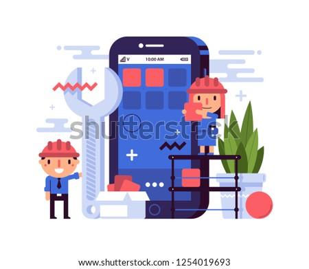 Business illustration in flat style with cute characters. The girl and the guy in worker's helmets build a large smartphone. Mobile application development, phone repairing, prototyping.