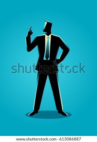 Business illustration of a businessman with a finger pointed up