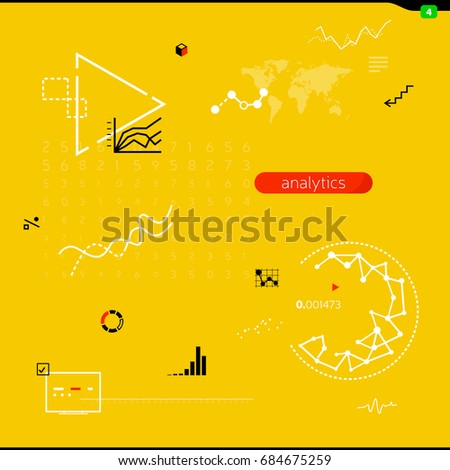 Business illustration with thin line. Icons, signs of analytics, statistics, charts, growth diagrams, statistical results, infographics. Elements for dashboards, web interfaces, mobile applications.