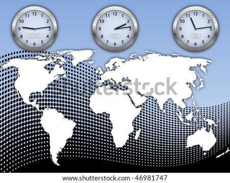 Business illustration with world map and three clock's on abstract halftone background