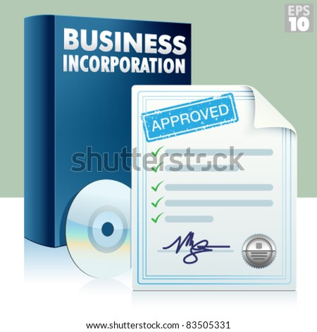Business incorporation kit with box, cd and approved documents