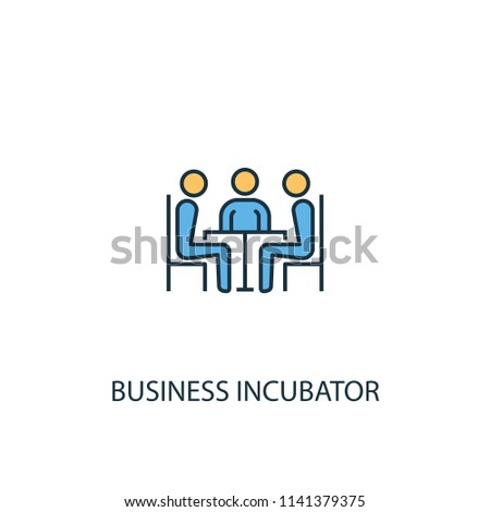 Business incubator concept 2 colored line icon. Simple yellow and blue element illustration. Business incubator concept outline symbol design from Entrepreneurship set