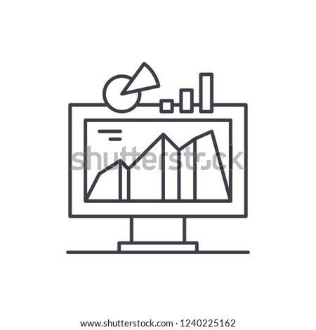 Business indicator system line icon concept. Business indicator system vector linear illustration, symbol, sign