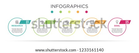 Business Info graphic template. Circle design with label 5 steps or 5 options.