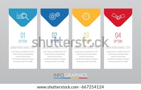 Business Info-graphic Template diagram with 4 steps multi-Color design, labels design, Vector info-graphic element, Flat style vector illustration EPS 10.