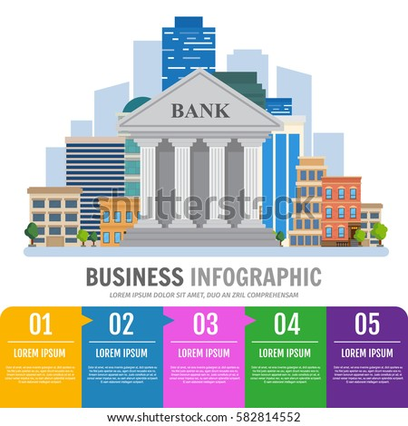 Business infographic. Bank building on the urban landscape. Vector illustration Flat style.