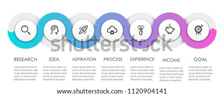 Business Infographic design template with icons and 7 options or steps.  Can be used for process diagram, presentations, workflow layout, banner, flow chart, info graph.