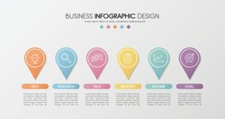 Business infographic design with 6 elements. Vector