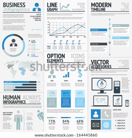 Business infographic elements blue vector EPS10
