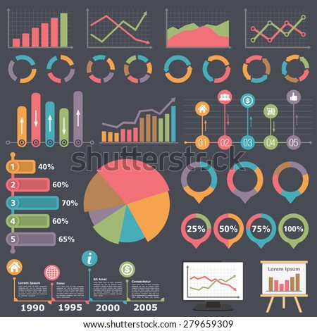 Business infographic elements collection, set of different graphs, charts and diagrams, vector eps10 illustration
