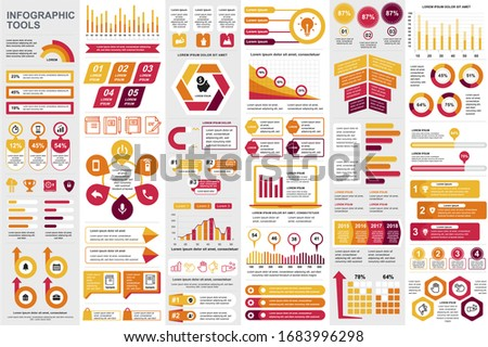 Business infographic elements set. Business processes visualisation, workflow and flowchart. Colorful stock and flow charts, line, circle and bar graphs vector illustration. Business and accounting Photo stock ©