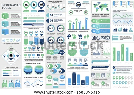 Business infographic elements set in flat style. Data visualization bundle ready to use in business presentation and analytics report. Circular and linear colorful diagrams vector illustration.