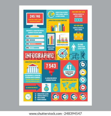 Business infographic - mosaic poster with icons in flat design style. Vector icons set. Business flat illustrations and infographics. Business infographic template. Design elements.