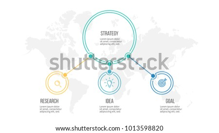 Business infographic. Organization chart with 3 options, circles. Vector template.