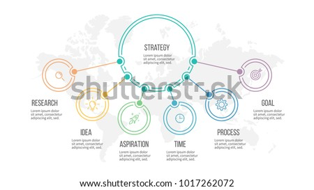 Business infographic. Organization chart with 6 options. Vector diagram.