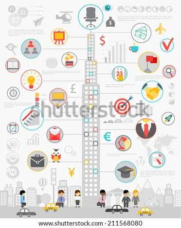 Business Infographic set with charts and other elements Vector illustration