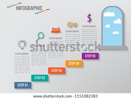 Business infographic staircase template, steps up stairway to the open door conceptual. Vector illustration