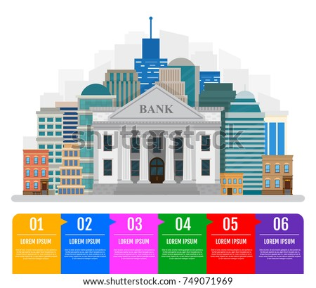 Business infographic template. Bank building on the urban landscape. Vector illustration. Flat style.