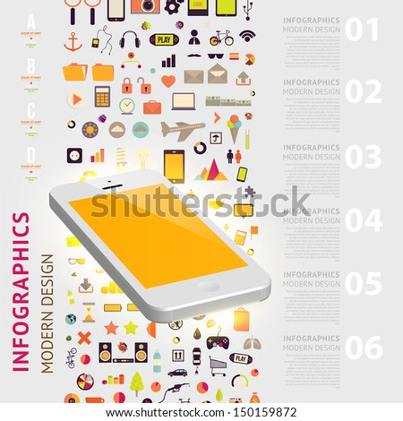 Business infographic template Mobile phones technology Diagrams and icons set Numbered banners Minimal style design for business graphic Cutout lines and other website design elements