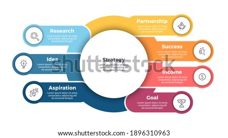 Business infographic template. Organization chart with 7 steps, options. Vector chart.