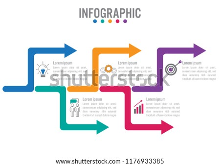 Business infographic template with 5 options arrows shape