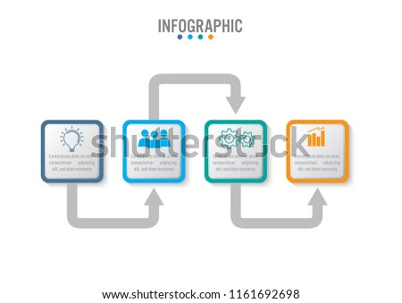 Business infographic template with 4 options rectangular shape, Abstract elements diagram or processes and business flat icon, Vector business template for presentation.