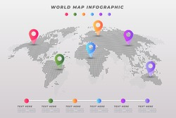 Business infographic template. World map infographic with colorful pins. Vector illustration.