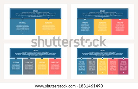 Business infographic templates. Banner with 2, 3, 4, 5 options, columns, sections. Vector chart.