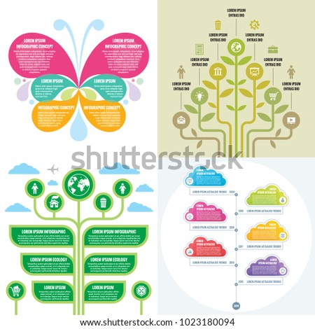 Business infographic templates concept vector illustration. Abstract banner set. Advertising promotion layout collection for presentation. Time line. Nature graphic design elements.