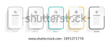 Business infographic thin line process with square template. Vector illustration. Timeline processes with 5 options, steps or parts.