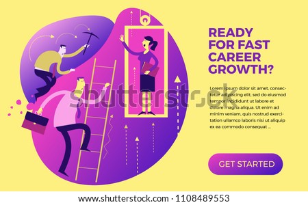 Business infographics, business situations. Career ladder, service Elevator, workers strive upward, achievement goal, career, professional growth. The way up through the ranks. Business people. Flat.