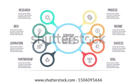 Business infographics. Chart of choice with 8 steps, options, sections. Vector diagram.