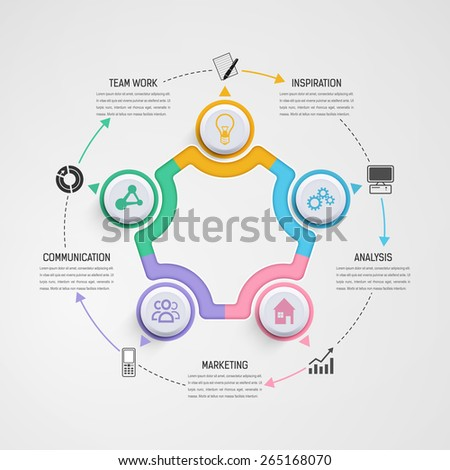 Business Infographics Circle Colorful Style on the Grey Background. Vector illustration.