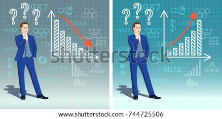 Business infographics collection. Idea concept. Businessman is thinking about financial graph of profit growth and decline. Success and crisis bar charts with up and down arrows.