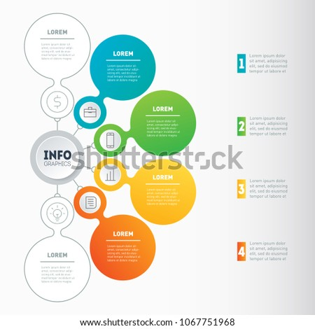 Business infographics concept with 4 or 6 options. Vector info graphic of technology or education process. Annual report. Web Template of a info chart, diagram or presentation. Part of the report.