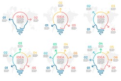 Business infographics. Creative idea. Light bulb elements with 2, 3, 4, 5, 6, 7 steps, arrows. Vector pie charts.