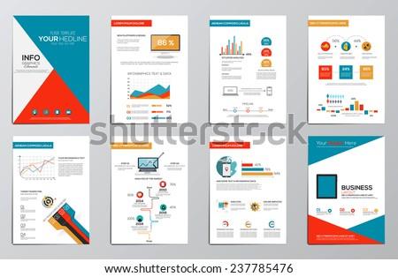 Business infographics elements for corporate brochures. Flat design. Vector