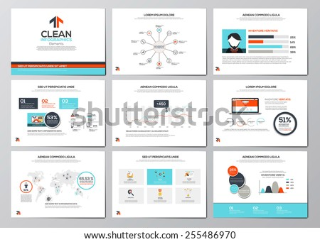 Business infographics elements for corporate brochures. Flat design. Vector