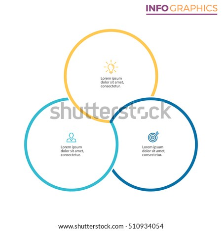Business infographics. Outline infographic element with 3 steps, parts. Vector pie chart.