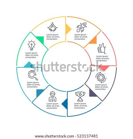Business infographics. Outline infographic element with 8 steps, sections, arrows. Vector pie chart.