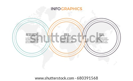 Business infographics. Outline presentation with 3 steps, options, circles. Vector template.