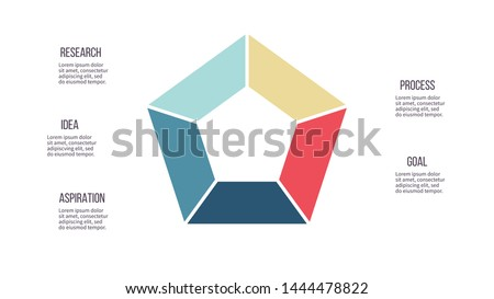 Business infographics. Pentagon chart  with 5 steps, options. Vector diagram. ストックフォト ©