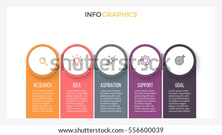 Business infographics. Presentation slide with 5 step, options. Vector infographic element.