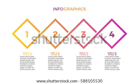 Business infographics. Presentation with 4 step, options. Vector infographic template.