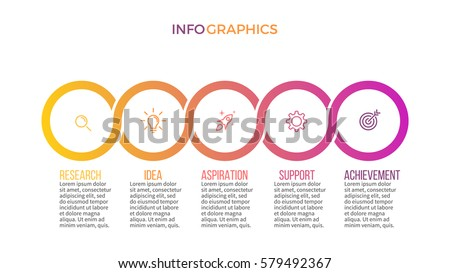 Business infographics. Presentation with 5 steps, circles. Vector infographic template.